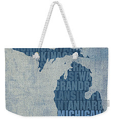 Michigan Great Lake State Word Art On Canvas Weekender Tote Bag