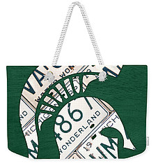 Michigan State Spartans Sports Retro Logo License Plate Fan Art Weekender Tote Bag by Design Turnpike