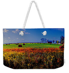 Michigan Uper  Farm Barn And Rolls Of Hay Brimly Michigan Weekender Tote Bag by Tom Jelen