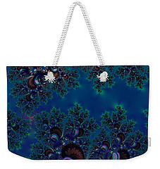 Midnight Blue Frost Crystals Fractal Weekender Tote Bag