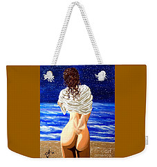 Weekender Tote Bag featuring the painting Midnight Swim by Jackie Carpenter