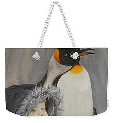 Mika And Penguin Weekender Tote Bag by Tamir Barkan