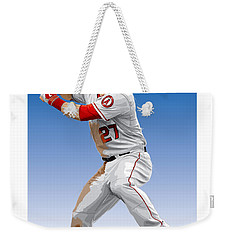 Weekender Tote Bag featuring the digital art Mike Trout by Scott Weigner