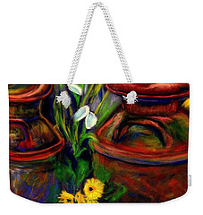 Milk Cans At Flower Show Sold Weekender Tote Bag by Antonia Citrino