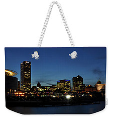 Weekender Tote Bag featuring the photograph Milwaukee City Scape Panorama by Deborah Klubertanz