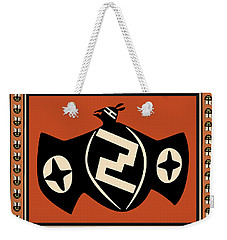 Weekender Tote Bag featuring the digital art Mimbres Tribal Bat Spirit by Vagabond Folk Art - Virginia Vivier