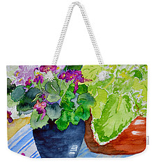 Mimi's Violets Weekender Tote Bag by Beverley Harper Tinsley