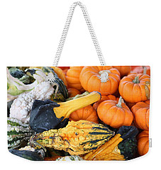 Weekender Tote Bag featuring the photograph Mini Pumpkins And Gourds by Cynthia Guinn