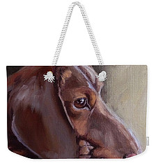 Miniature Doxin Daydreaming- Dachshund Pet Portrait Weekender Tote Bag