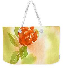 Weekender Tote Bag featuring the painting Miniature Red Rose II by Kip DeVore
