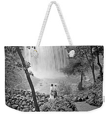 Weekender Tote Bag featuring the photograph Minnehaha Falls Minneapolis Minnesota 1915 Vintage Photograph by A Gurmankin