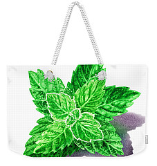 Weekender Tote Bag featuring the painting Mint Leaves by Irina Sztukowski