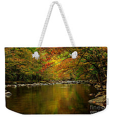 Weekender Tote Bag featuring the photograph Mirror Fall Stream In The Mountains by Debbie Green