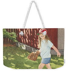 Weekender Tote Bag featuring the painting Mischief by Dee Dee  Whittle