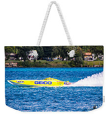 Miss Geico With Rooster Tail Weekender Tote Bag