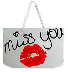 Weekender Tote Bag featuring the painting Miss You  by Marisela Mungia