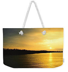Sunrise Over The Mississippi River Post Hurricane Katrina Chalmette Louisiana Usa Weekender Tote Bag