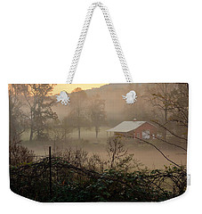 Misty Morn And Horse Weekender Tote Bag by Kathy Barney