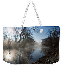 Misty Morning Along James River Weekender Tote Bag