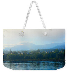Misty Morning In Port Angeles Weekender Tote Bag by Connie Fox