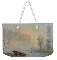 Weekender Tote Bag featuring the painting Misty Morning by Katalin Luczay