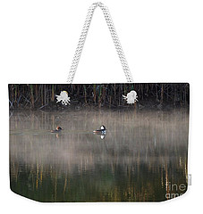 Misty Morning Mergansers Weekender Tote Bag by Amy Porter