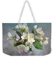 Weekender Tote Bag featuring the photograph Sweet Mock Orange Blossom Bouquet With Bumble Bee  by Louise Kumpf