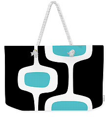 Mod Pod 2 White On Black Weekender Tote Bag