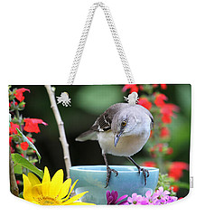 Mockingbird And Teacup Photo Weekender Tote Bag by Luana K Perez