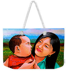 Mom And Babe Weekender Tote Bag by Cyril Maza