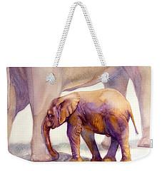 Mom And Baby Boy Elephants Weekender Tote Bag