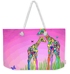 Mom And Baby Giraffe Unconditional Love Weekender Tote Bag