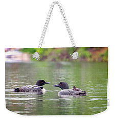 Mom And Dad Loon With Baby On Back Weekender Tote Bag