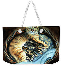 Weekender Tote Bag featuring the painting Mom With Her Kittens by Donna Tucker