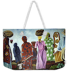 Weekender Tote Bag featuring the painting Mombasa Market by Sher Nasser