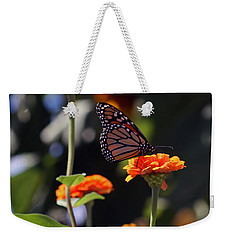 Monarch Butterfly And Orange Zinnias Weekender Tote Bag