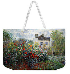 Weekender Tote Bag featuring the photograph Monet's The Artist's Garden In Argenteuil  -- A Corner Of The Garden With Dahlias by Cora Wandel