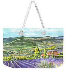 Weekender Tote Bag featuring the painting Montagne De Lure In Provence France by Carol Wisniewski