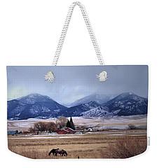Montana Ranch - 1-w-texture Weekender Tote Bag by Kae Cheatham