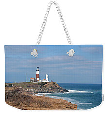 Weekender Tote Bag featuring the photograph Montauk Lighthouse/camp Hero by Karen Silvestri