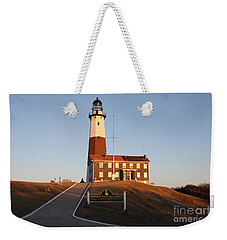 Weekender Tote Bag featuring the photograph Montauk Lighthouse Entrance by John Telfer