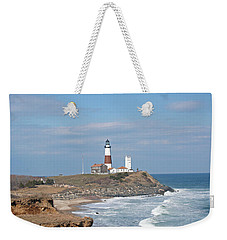 Montauk Lighthouse View From Camp Hero Weekender Tote Bag by Karen Silvestri