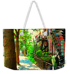 Montreal Art Colorful Winding Staircase Scenes Tree Lined Streets Of Verdun Art By Carole Spandau Weekender Tote Bag
