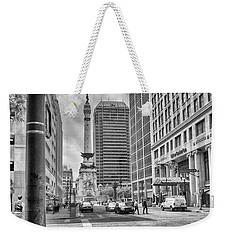 Weekender Tote Bag featuring the photograph Monument Circle by Howard Salmon