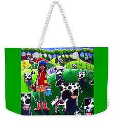 Weekender Tote Bag featuring the painting Moo Cow Farm by Jackie Carpenter