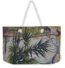 Moon Lovers With Flute  Weekender Tote Bag by Avonelle Kelsey
