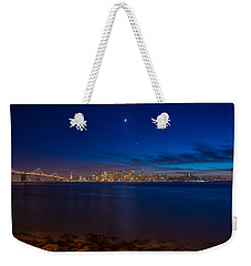 Moon Over San Francisco Bay Weekender Tote Bag by James Hammond