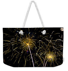 Moon Over Golden Starburst- July Fourth - Fireworks Weekender Tote Bag