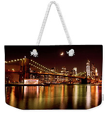 Moon Over The Brooklyn Bridge Weekender Tote Bag
