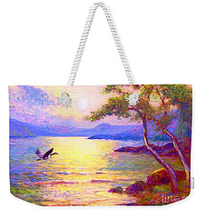 Weekender Tote Bag featuring the painting  Wild Goose, Moon Song by Jane Small